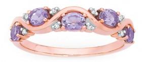 9ct-Rose-Gold-Pink-Amethyst-Diamond-Ring on sale