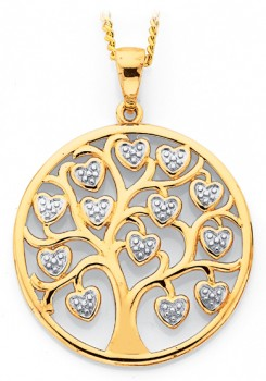 9ct-Gold-Two-Tone-Gold-Tree-of-Life-Hearts-Pendant on sale
