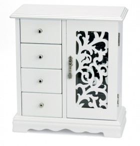 White-Four-Draw-Jewellery-Box-With-Door on sale