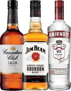 Canadian-Club-Whisky-Jim-Beam-White-Label-Bourbon-or-Smirnoff-Vodka-Red-Label-700mL on sale