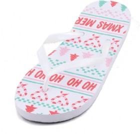 Wave-Zone-Womens-Christmas-Thongs-White on sale