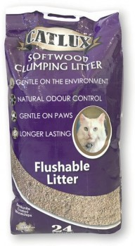 Catlux-Softwood-Clumping-Flushable-Cat-Litter-24-Litre on sale