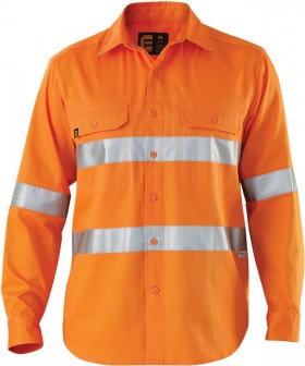 ELEVEN-Workwear-Hi-Vis-LS-Drill-Shirt-with-3M-Tape on sale