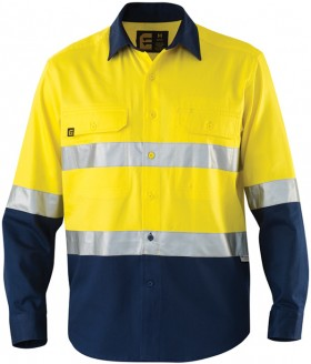 ELEVEN-Hi-Vis-Spliced-LS-Drill-Shirt-with-3M-Tape on sale