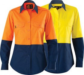 ELEVEN-Workwear-Womens-AEROCOOL-Hi-Vis-Spliced-LS-Shirt on sale