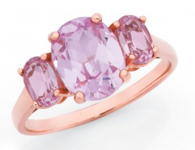 9ct-Rose-Gold-Created-Sapphire-Trilogy-Ring on sale