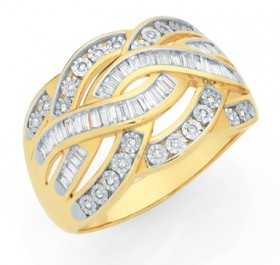 9ct-Gold-Diamond-Wide-Crossover-Ring on sale