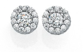 Sterling-Silver-Small-CZ-Cluster-Stud-Earrings on sale