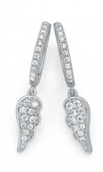 Sterling-Silver-CZ-Angel-Wing-Huggie-Earrings on sale