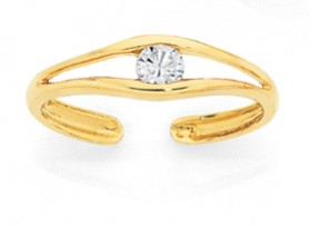 9ct-Gold-CZ-Toe-Ring on sale