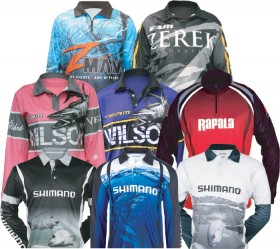 All-Sublimated-Fishing-Shirts-by-Shimano-Wilson-Rapala-ZMan-Zerek on sale