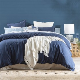Washed-Linen-Look-Navy-Quilt-Cover-Set-by-Essentials on sale