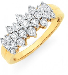 9ct-Gold-Diamond-Cluster-Dress-Band on sale