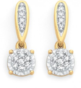 9ct-Gold-Diamond-Cluster-Drop-Earrings on sale