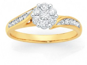 9ct-Gold-Diamond-Cluster-Engagement-Ring on sale