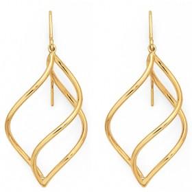 9ct-Gold-on-Silver-Wave-Drop-Earrings on sale