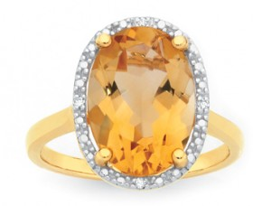 Manhattan-G-Cocktail-Ring-Collection-9ct-Gold-Honey-Quartz-Oval-Shape-Ring on sale