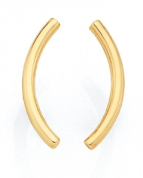 9ct-Gold-Curved-Bar-Stud-Earrings on sale