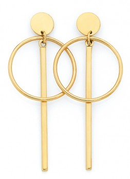 9ct-Gold-Pendulum-Bar-Circle-Disc-Stud-Earrings on sale