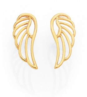 9ct-Gold-Open-Angel-Wing-Stud-Earrings on sale