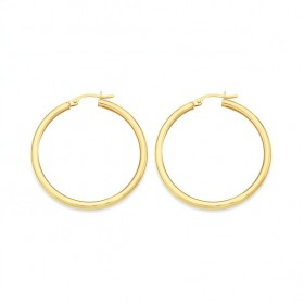 9ct-Gold-2.5x30mm-Polished-Hoop-Earrings on sale