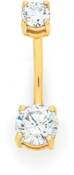 9ct-Gold-CZ-Belly-Bar on sale