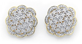 9ct-Gold-Diamond-Large-Flower-Stud-Earrings on sale