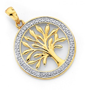 9ct-Gold-Diamond-Tree-of-Life-Pendant on sale
