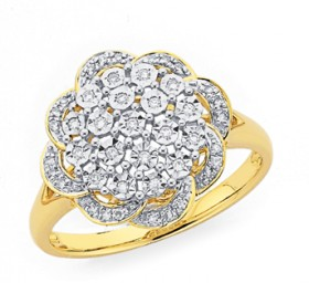 9ct-Gold-Diamond-Large-Flower-Ring on sale