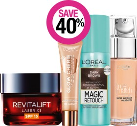 Save-40-on-LOral-Paris-Cosmetic-Womens-Skincare-Magic-Retouch-Excellence-Age-Perfect-Elvive-Ranges on sale