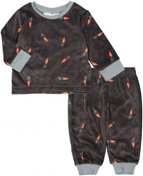 Infant-Printed-Fleece-Pyjama-Set-Carrot on sale