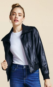 me-Rib-Trim-PU-Jacket on sale