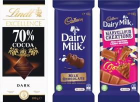 Cadbury-Dairy-Milk-or-Marvellous-Creations-Blocks-162-190g-Cadbury-Bubbly-Blocks-160g-or-Lindt-Lindor-or-Excellence-Block-Varieties-80-100g on sale