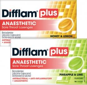 Difflam-Plus-Anaesthetic-Sore-Throat-Lozenges-16-Lozenges-Range on sale