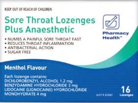Pharmacy-Health-Sore-Throat-Lozenges-Plus-Anaesthetic-Menthol-16-Lozenges on sale