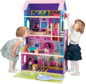 Wooden-Dollhouse-with-Furniture on sale