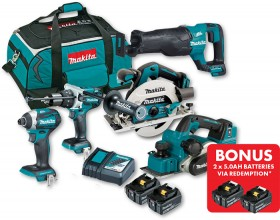Makita-18V-Brushless-5Pce-Combo on sale