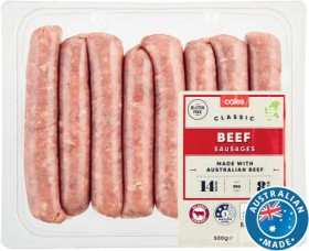 Coles-Classic-Beef-Sausages-500g on sale