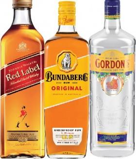 Johnnie-Walker-Red-Label-Scotch-Bundaberg-Rum-U.P.-or-Gordons-Gin-1-Litre on sale