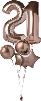 Rose-Gold-Double-Number-Balloon-Bouquet on sale