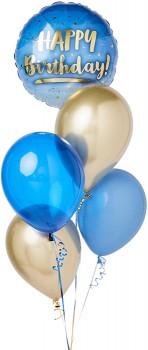 Happy-Birthday-Blue-Gold-Balloon-Bouquet on sale