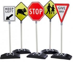 5-Piece-Double-Sided-Australian-Traffic-Signs-Set on sale