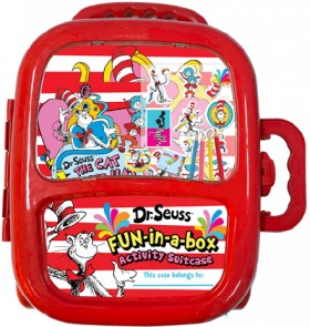 NEW-Dr-Seuss-Cat-in-the-Hat-Fun-in-a-box-Activity-Suitcase on sale