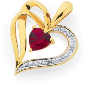 9ct-Gold-Created-Ruby-Diamond-Heart-Cut-Sweetheart-Pendant on sale