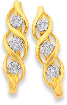 9ct-Gold-Diamond-Cluster-Swirl-Huggie-Earrings on sale