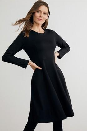 Capture-Ponte-Flare-Long-Sleeve-Dress on sale