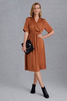 Grace-Hill-Satin-Wrap-Midi-Dress on sale