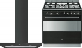 Smeg-90cm-Dual-Fuel-Cooker-and-Rangehood-Pack on sale