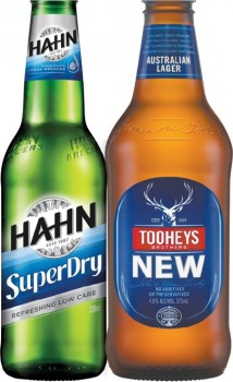 Hahn-Super-Dry-or-Tooheys-New-24-Pack on sale