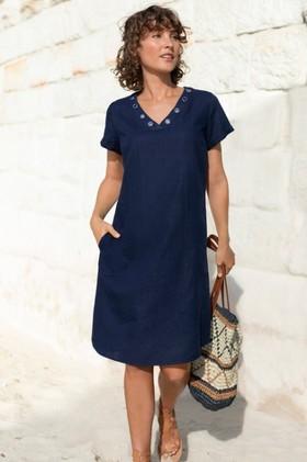 Capture-Linen-V-Neck-Eyelet-Dress on sale
